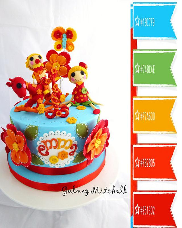 Lalaloopsy cake.  Easy Fantasy Flower Tutorial using two round cutters