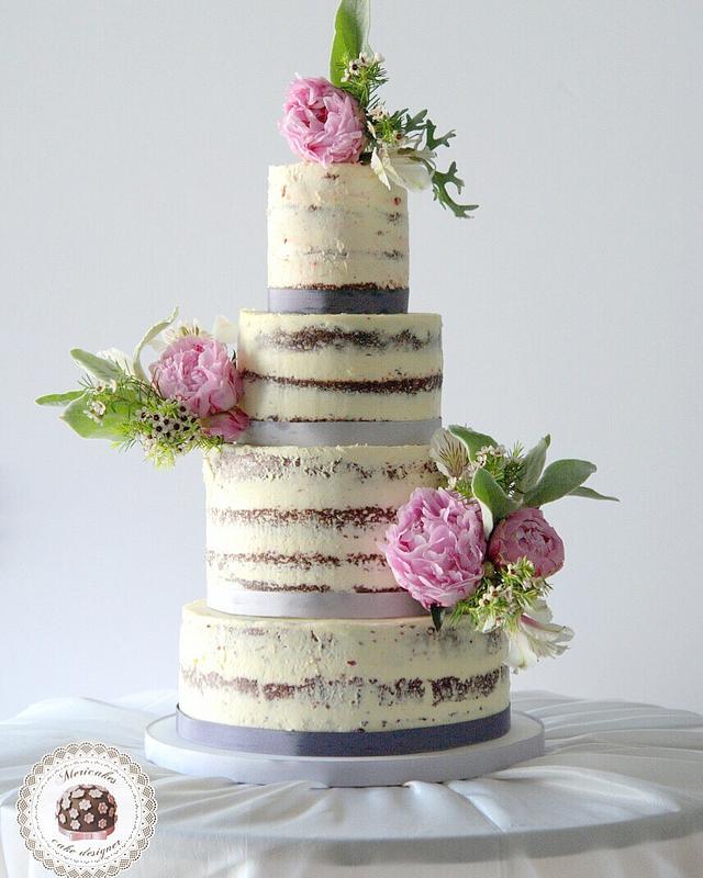 Fresh Peony Wedding Naked Cake