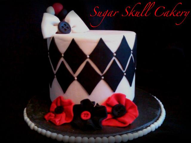 Red Black and White Cake.