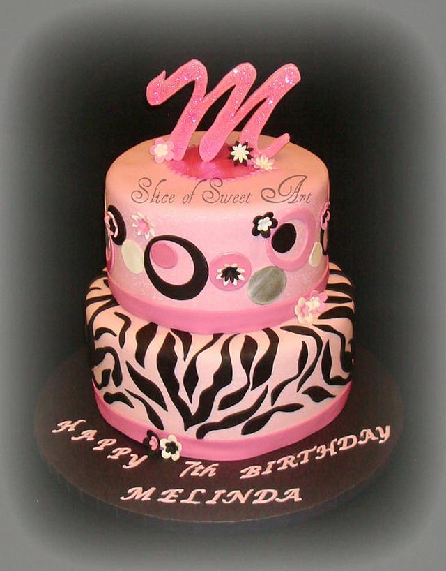 Peachy Girly Zebra Cake Cake By Slice Of Sweet Art Cakesdecor Funny Birthday Cards Online Sheoxdamsfinfo