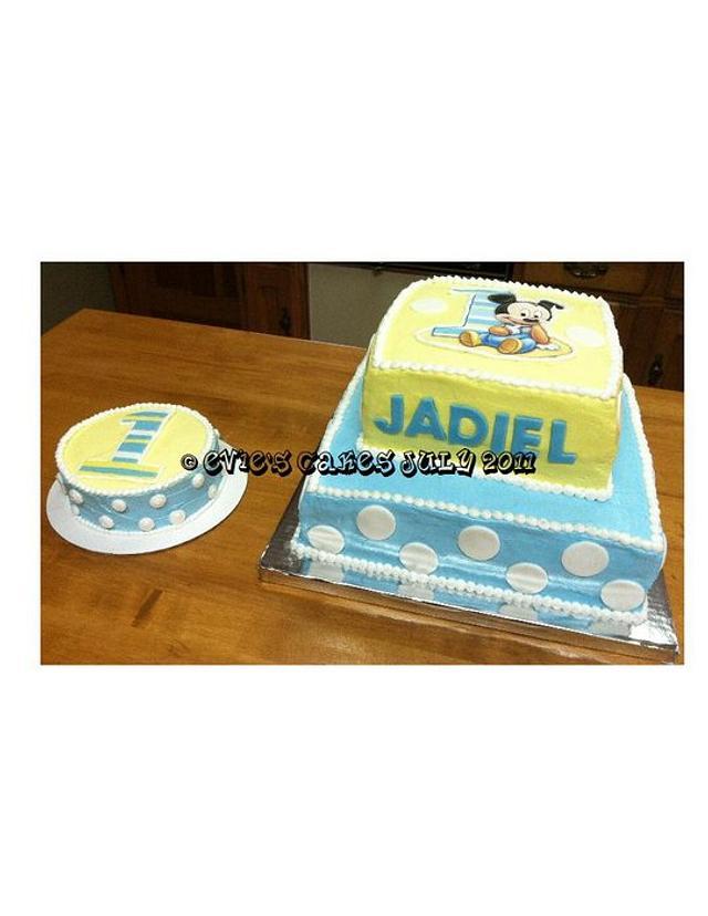 Mickey Mouse Cake W/Smash Cake