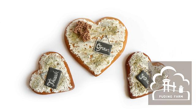 Rustic hearts - open and thank you