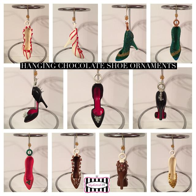 Hanging chocolate shoe ornaments