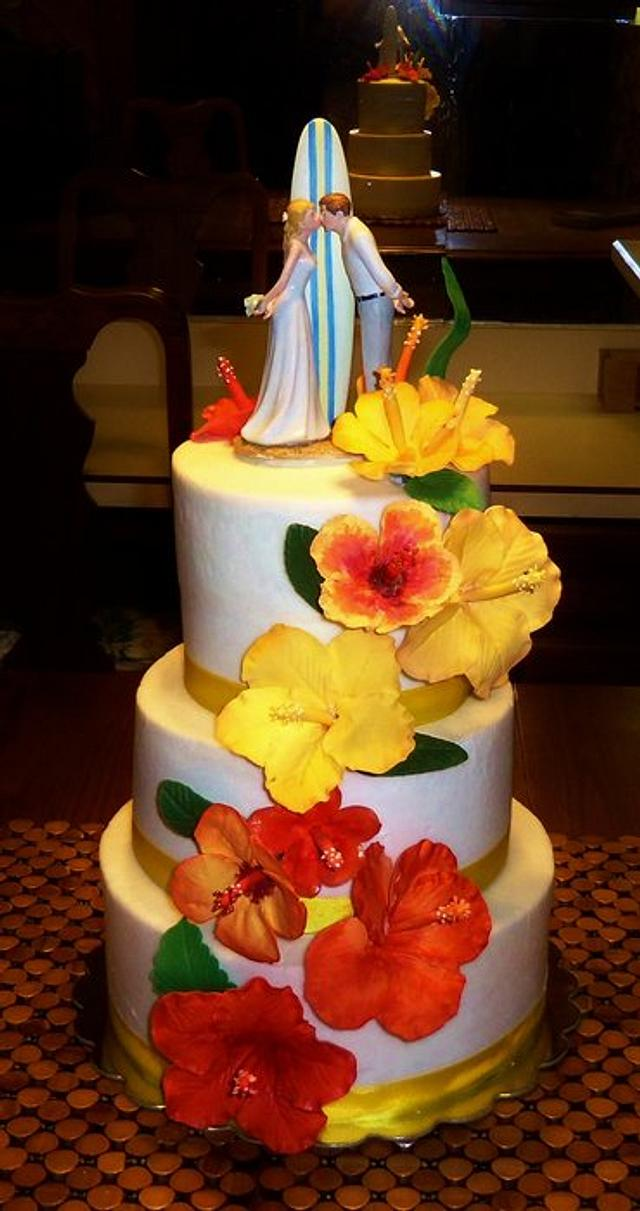 Tropical Beach themed Hibiscus wedding cake