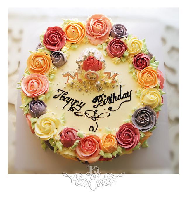 Butter cream Roses Birthday Cake
