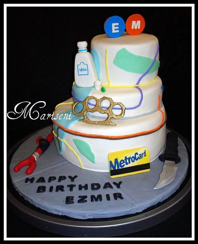 NYC Subway Inspired Birthday Cake