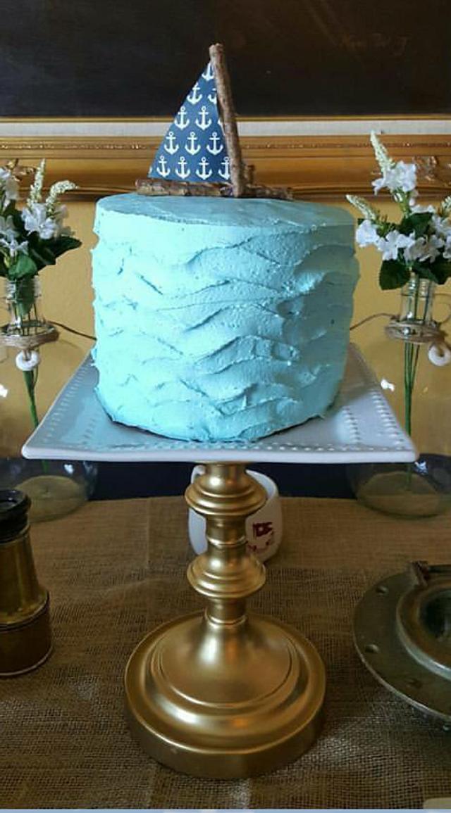 Buttercream stucco wave effect cake