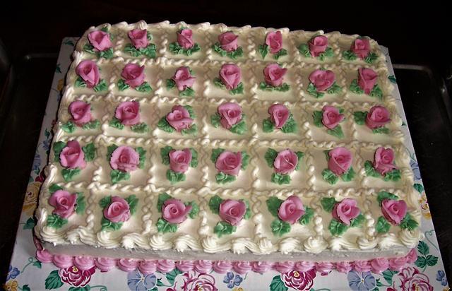 Pink Rose Sheet Cake