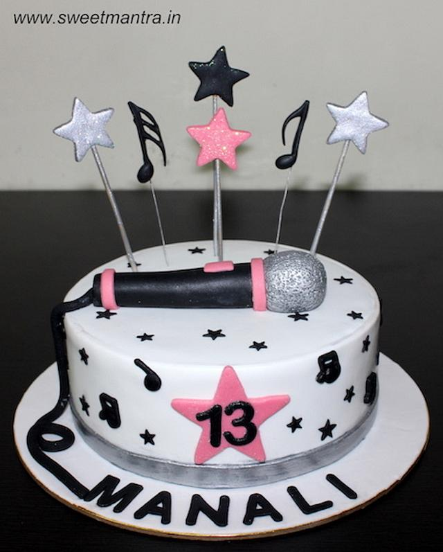Awesome Mic And Music Theme Cake For 13Th Birthday Cake By Cakesdecor Birthday Cards Printable Benkemecafe Filternl