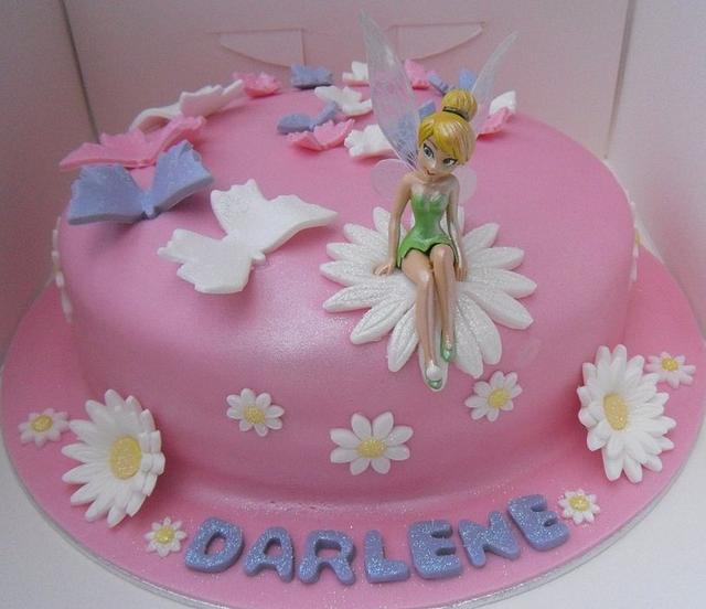 Tinkerbell & butterfly chocolate cake