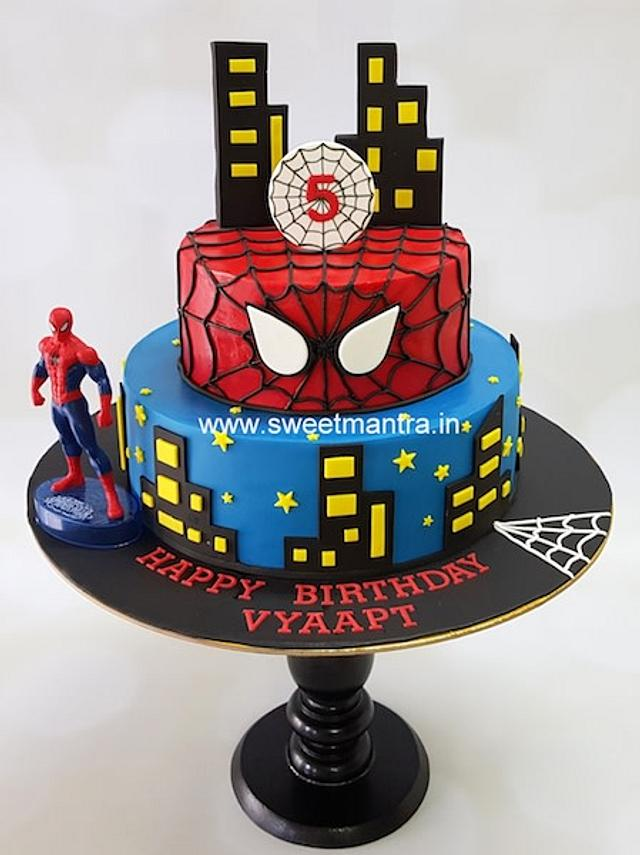 Fine Spiderman Theme 2 Tier Fondant Cake For Boys 5Th Birthday Cakesdecor Personalised Birthday Cards Beptaeletsinfo