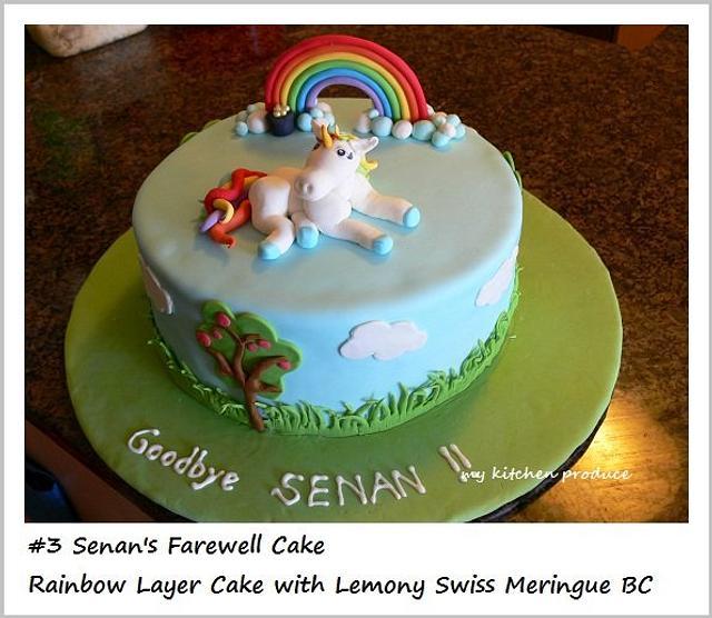 Rainbow cake with a unicorn