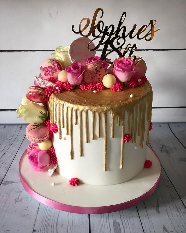 Wondrous Gold Drip With Pink 18Th Birthday Cake Cake By Cakesdecor Personalised Birthday Cards Veneteletsinfo