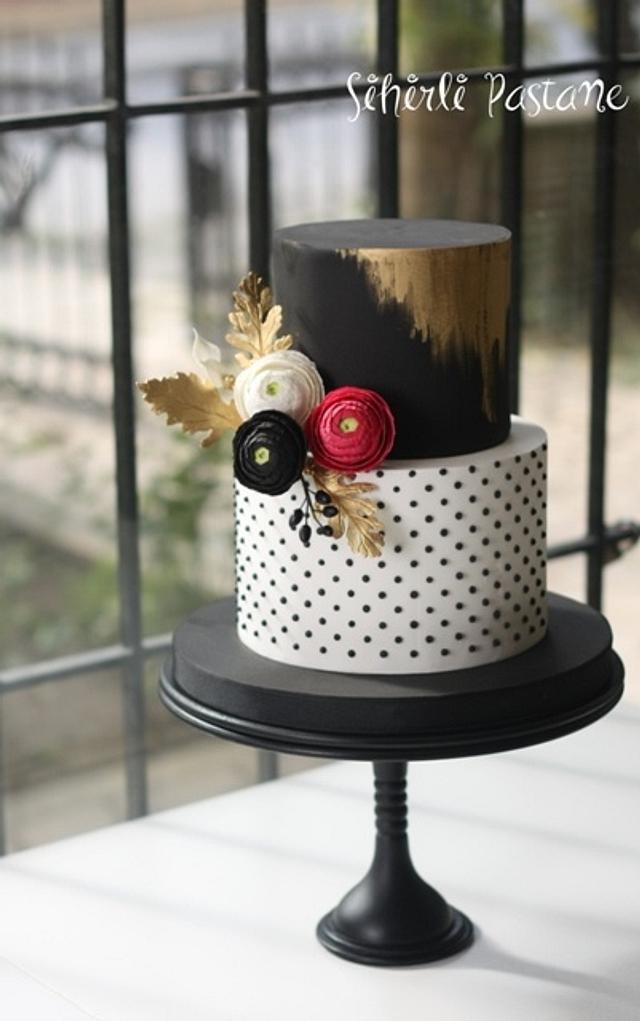 Black White Ranunculus Cake
