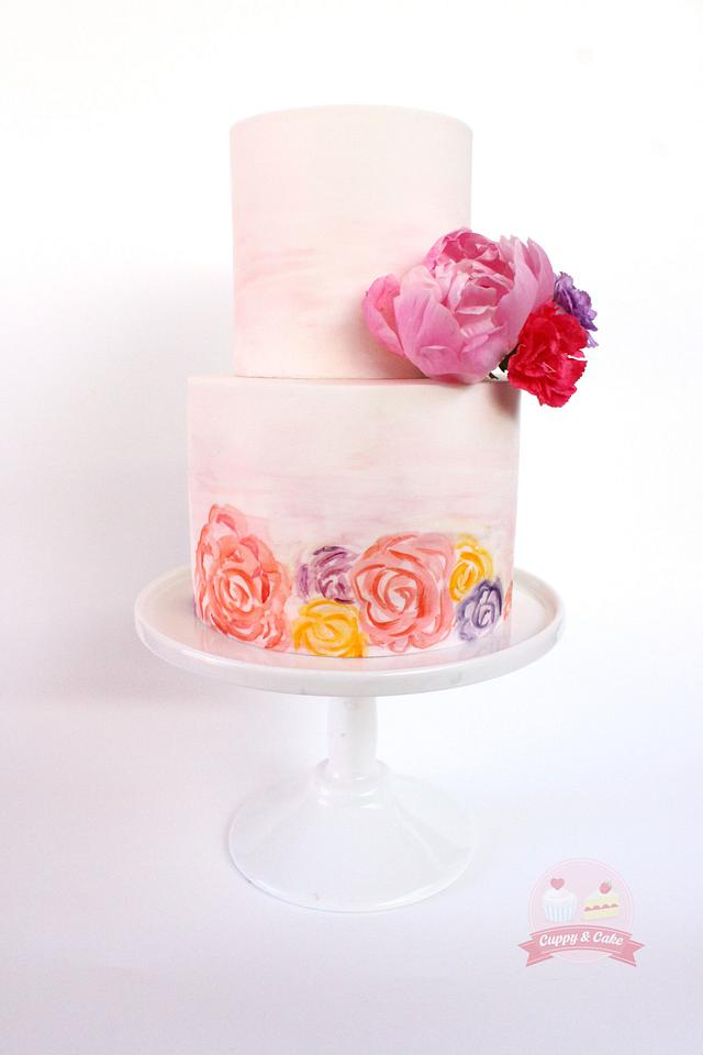 Water colour floral cake
