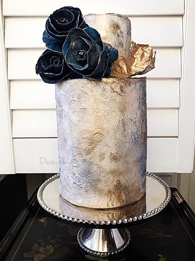 Navy and Gold Wafer Paper Cake