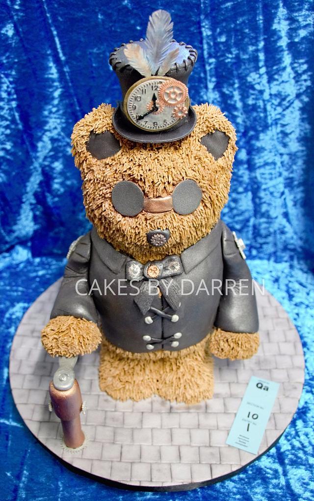 standing steampunk teddy bear cake