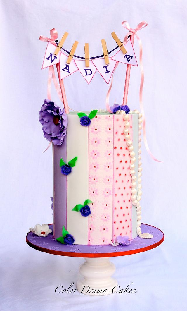 Double Barrel Cake with Vertical textured stripes