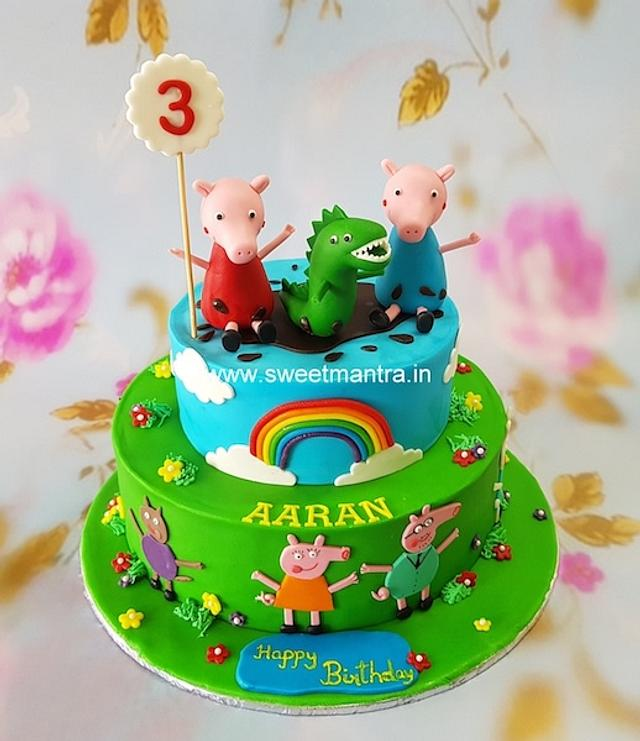 Incredible Peppa Pig George And Dino Theme Customised 2 Layer Cakesdecor Personalised Birthday Cards Paralily Jamesorg