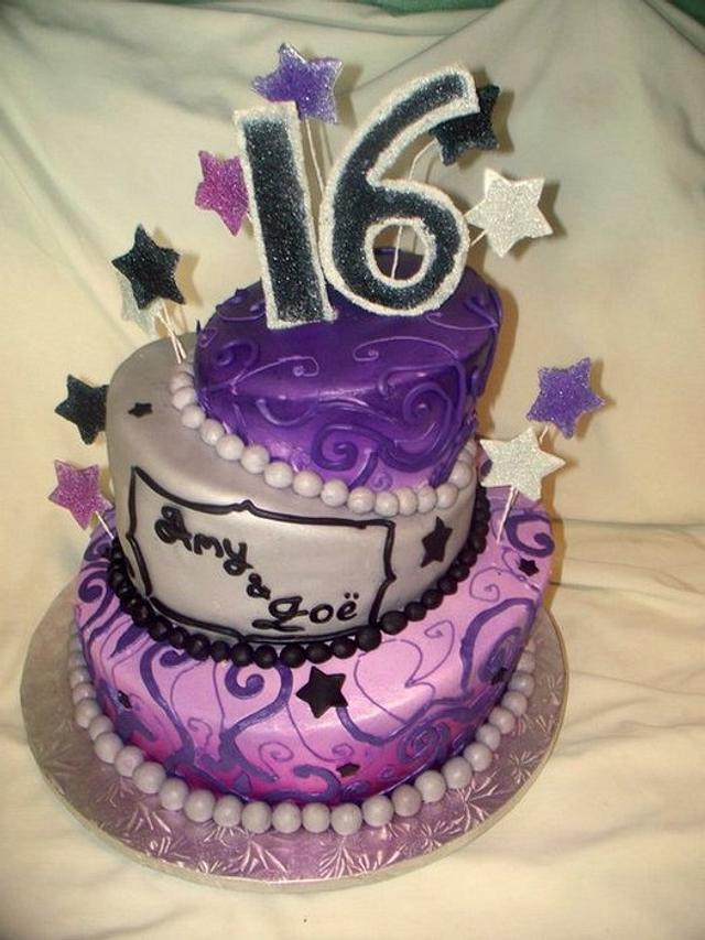 Sweet 16 cake for twins