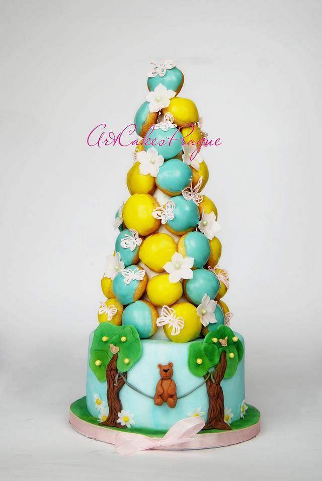 First birthday croquembouche cake