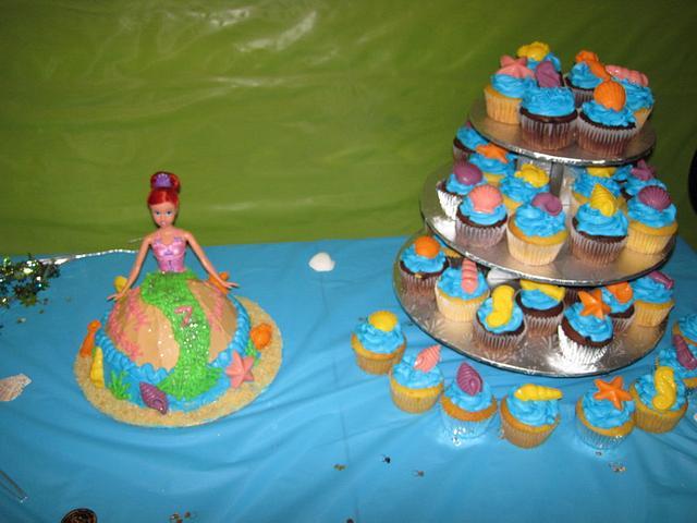 Mermaid Doll Cake & Seashell Cupcake Tower