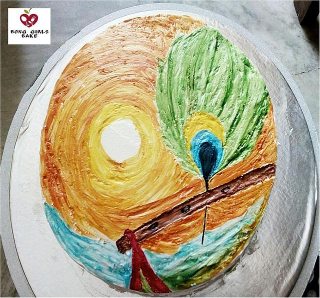 free hand painting on buttercream and whipped cream cakes