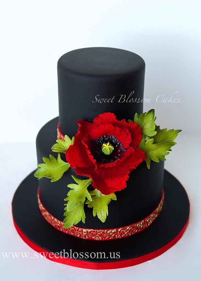 Black cake with sugar Poppy