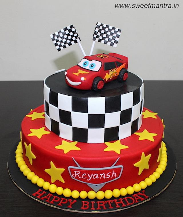 Terrific Mcqueen Cars Theme 2 Tier Fondant Cake For Kids Birthday Cakesdecor Funny Birthday Cards Online Alyptdamsfinfo