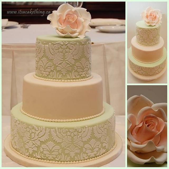 Damask Rose Bridal Shower Cake