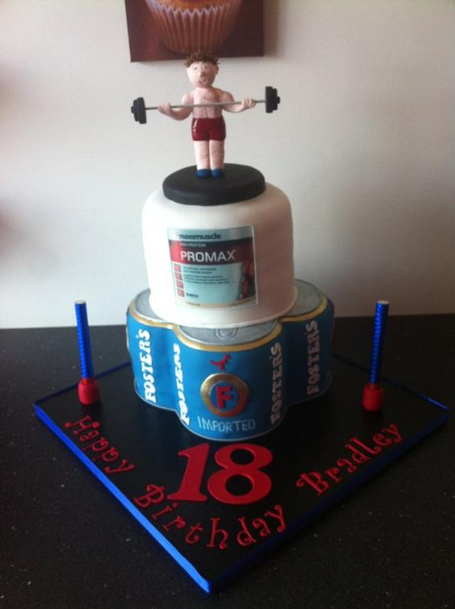 Beer and bodybuilder cake