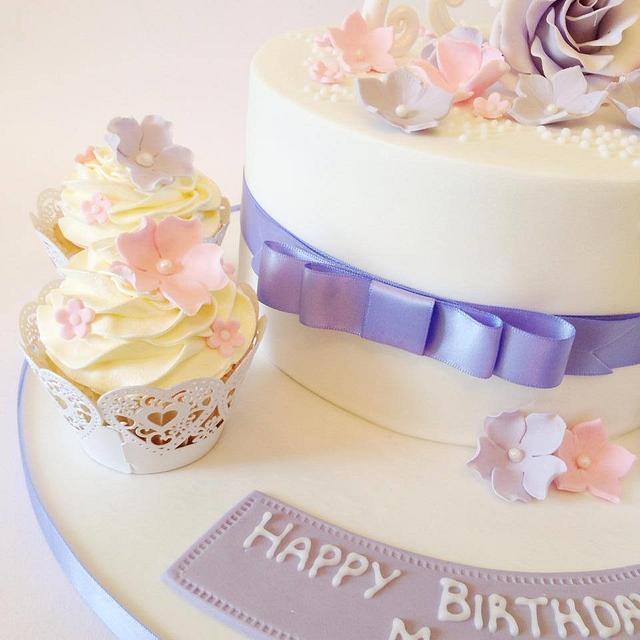 Pretty 75th Birthday Cake