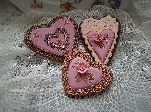 Golden flasch of hearts