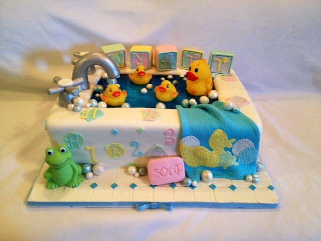 Rub a dub dub look at all the duckies in the tub: Baby Shower cake