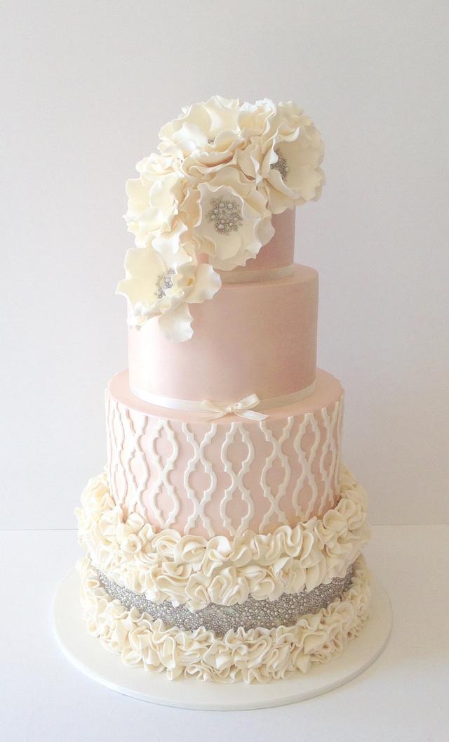 Pretty ruffle wedding cake