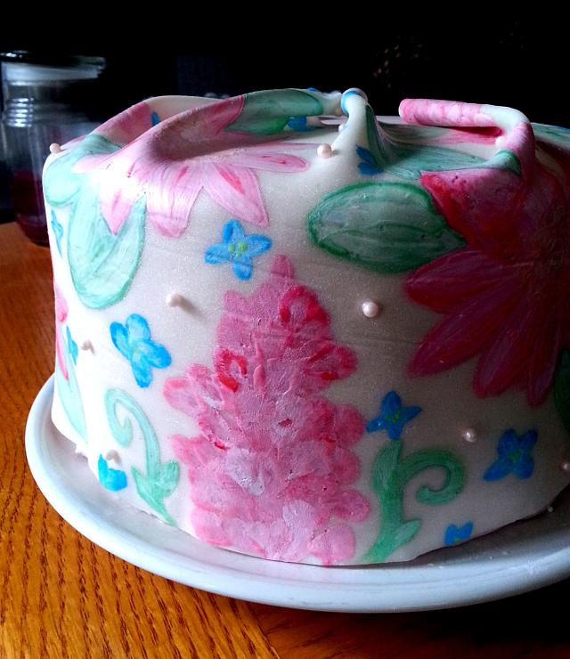 Floral Cake - Handpainted