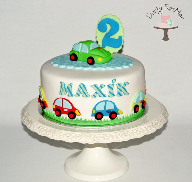 Cake with toy cars