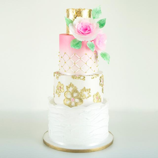 White And Gold, Ombre Wedding Cake