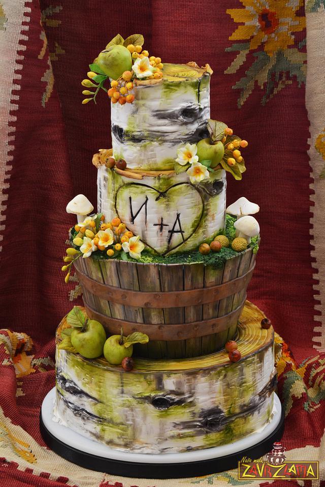 Rustic Birch Tree Wedding Cake