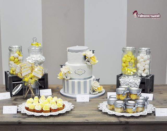 Grey and Yellow wedding table