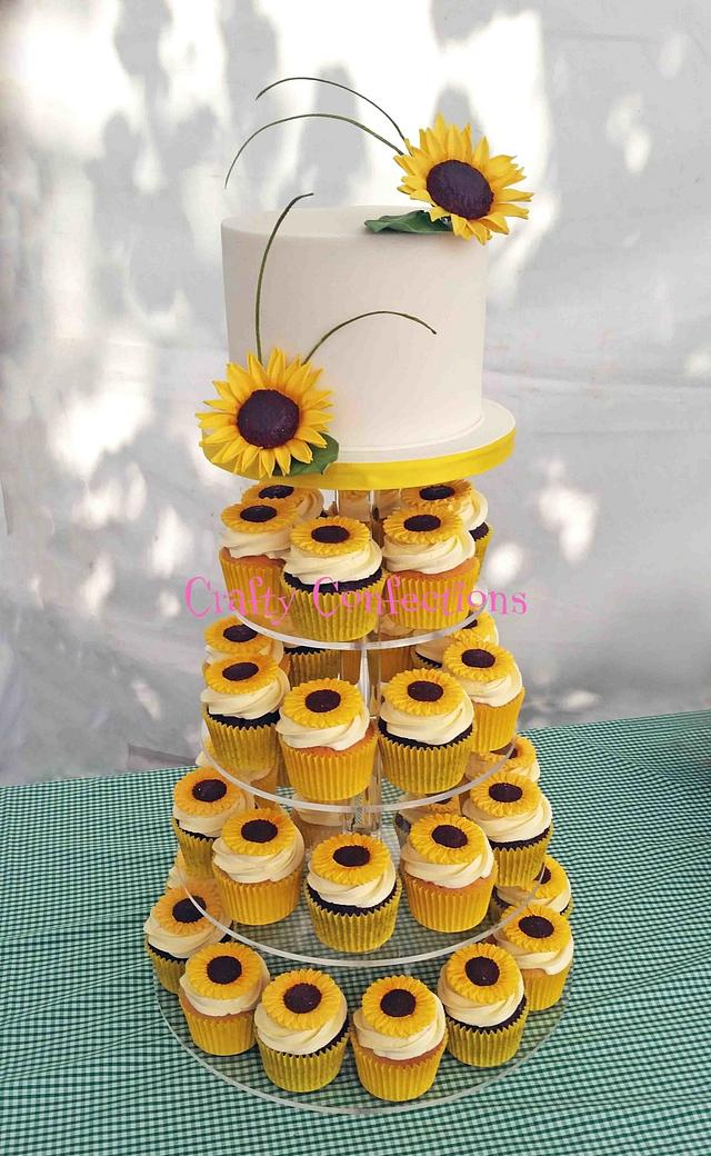 Sunflowers themed wedding cupcake tower