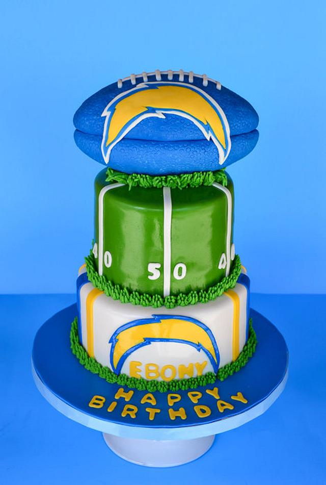 Sensational San Diego Chargers Cake By Sweet Creations By Sophie Cakesdecor Personalised Birthday Cards Veneteletsinfo