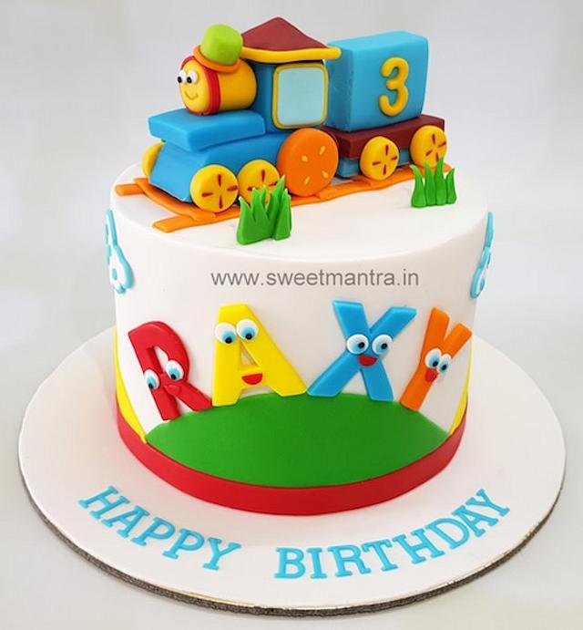 Prime Train Theme Colorful Customized Cake For Boys 3Rd Cakesdecor Funny Birthday Cards Online Overcheapnameinfo