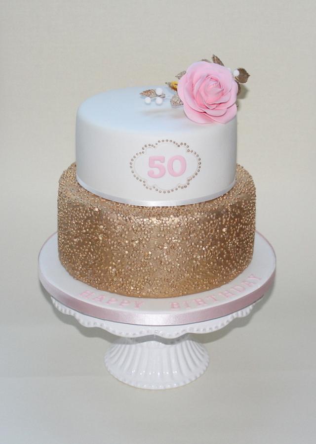 Tremendous Golden Elegant Birthday Cake Cake By Erika Cakes Cakesdecor Personalised Birthday Cards Veneteletsinfo