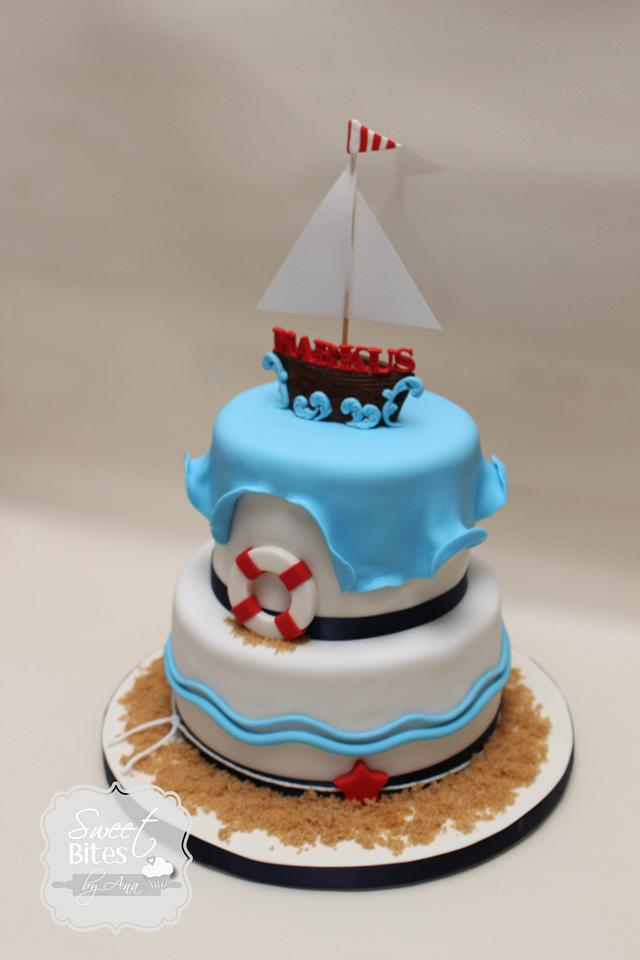 Awesome Nautical Themed First Birthday Cake Cake By Sweet Bites Cakesdecor Personalised Birthday Cards Sponlily Jamesorg
