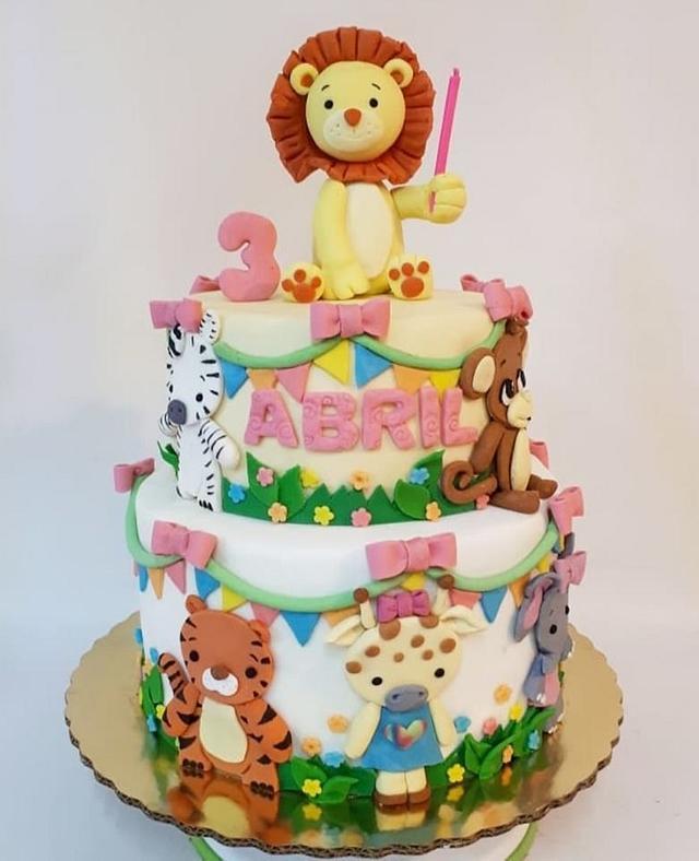 Pleasing Baby Zoo Birthday Cake By Laura Reyes Cakesdecor Funny Birthday Cards Online Amentibdeldamsfinfo
