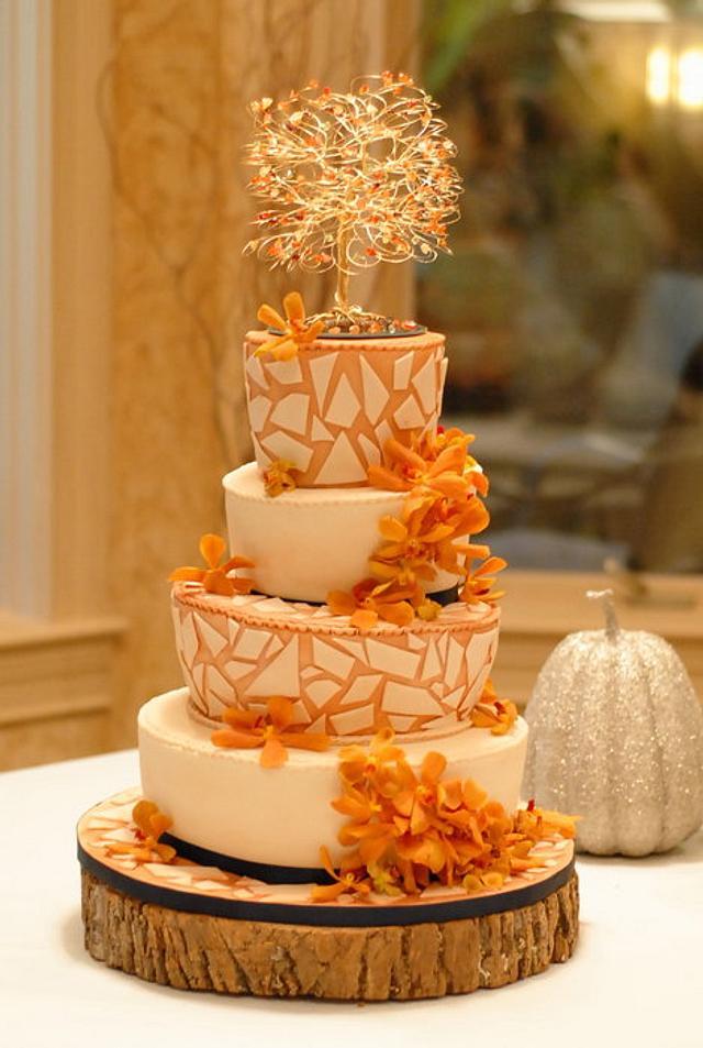 Fall Themed Mosaic Wedding Cake