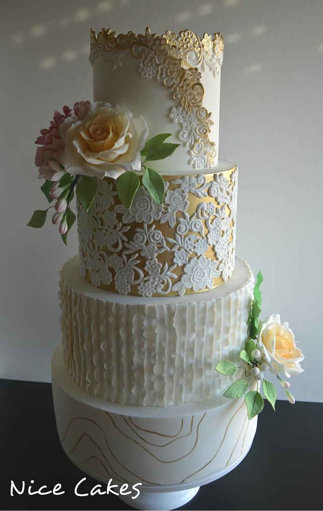 Vintage and modern wedding cake