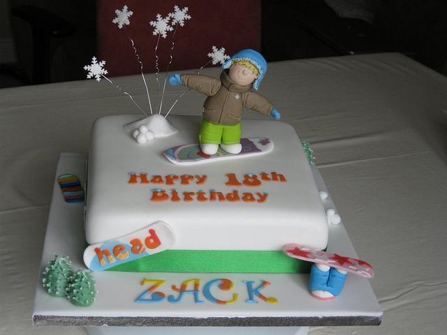 Snowboarder 18th Birthday Cake