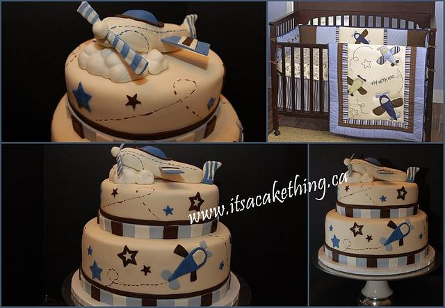 Airplane Baby Shower inspired by cool bedding..